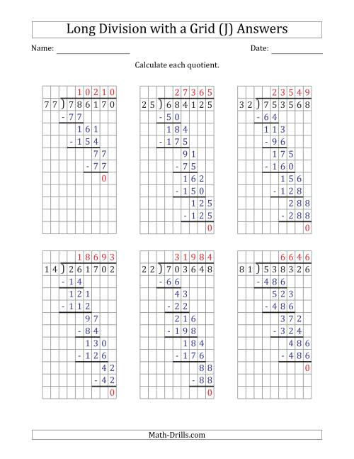 The 6-Digit by 2-Digit Long Division with Grid Assistance and NO Remainders (J) Math Worksheet Page 2