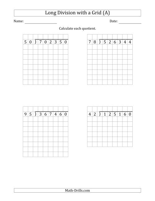 The 6-Digit by 2-Digit Long Division with Grid Assistance and NO Remainders (Old) Math Worksheet