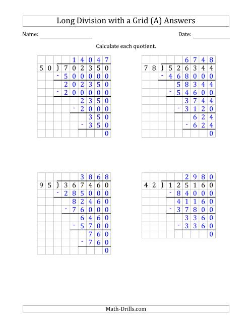 The 6-Digit by 2-Digit Long Division with Grid Assistance and NO Remainders (Old) Math Worksheet Page 2