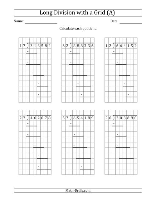 worksheet Division No Remainders 6 digit by 2 long division with grid assistance and prompts no remainders a