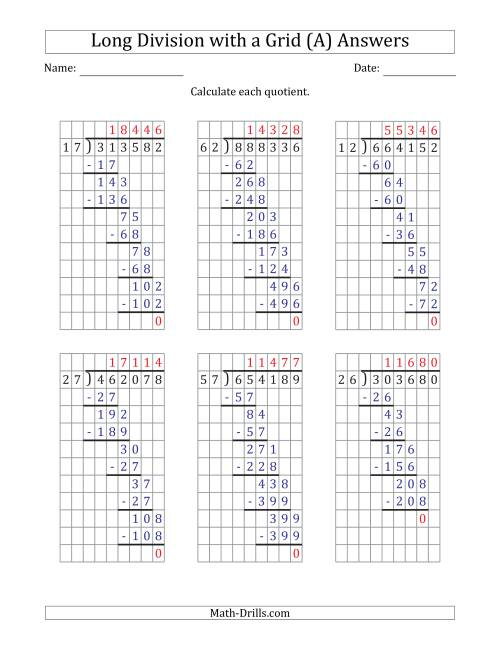 The 6-Digit by 2-Digit Long Division with Grid Assistance and Prompts and NO Remainders (A) Math Worksheet Page 2