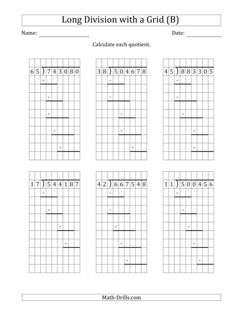 The 6-Digit by 2-Digit Long Division with Grid Assistance and Prompts and NO Remainders (B) Math Worksheet