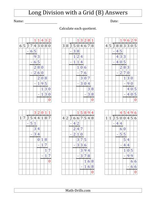 The 6-Digit by 2-Digit Long Division with Grid Assistance and Prompts and NO Remainders (B) Math Worksheet Page 2