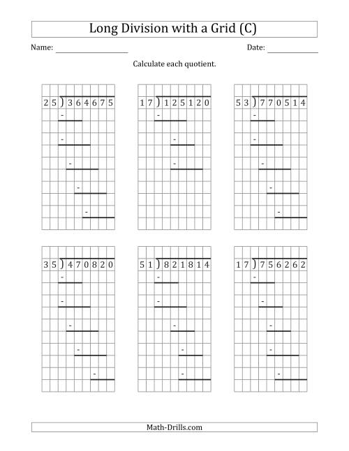 The 6-Digit by 2-Digit Long Division with Grid Assistance and Prompts and NO Remainders (C) Math Worksheet
