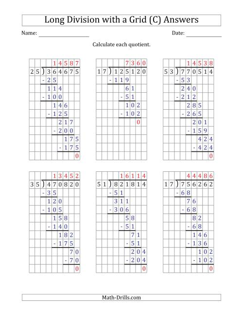 The 6-Digit by 2-Digit Long Division with Grid Assistance and Prompts and NO Remainders (C) Math Worksheet Page 2