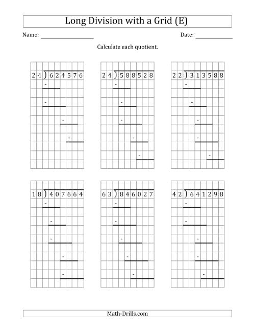 The 6-Digit by 2-Digit Long Division with Grid Assistance and Prompts and NO Remainders (E) Math Worksheet