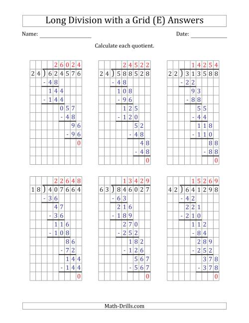 The 6-Digit by 2-Digit Long Division with Grid Assistance and Prompts and NO Remainders (E) Math Worksheet Page 2
