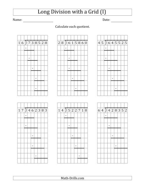 The 6-Digit by 2-Digit Long Division with Grid Assistance and Prompts and NO Remainders (I) Math Worksheet