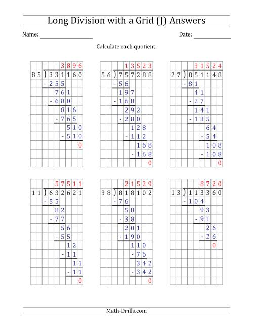 The 6-Digit by 2-Digit Long Division with Grid Assistance and Prompts and NO Remainders (J) Math Worksheet Page 2
