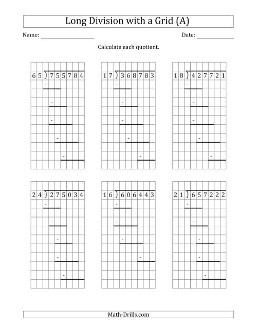 The 6-Digit by 2-Digit Long Division with Remainders with Grid Assistance and Prompts (A) Math Worksheet