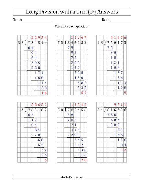 The 6-Digit by 2-Digit Long Division with Remainders with Grid Assistance and Prompts (D) Math Worksheet Page 2
