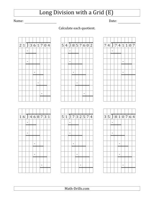 6 digit by 2 digit long division with remainders with grid. Black Bedroom Furniture Sets. Home Design Ideas