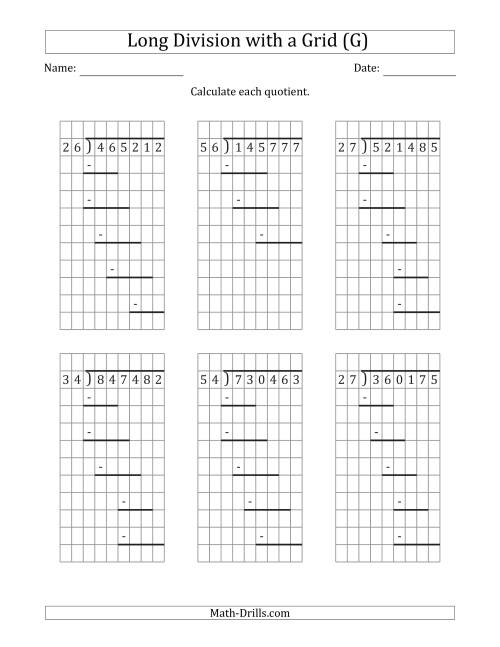The 6-Digit by 2-Digit Long Division with Remainders with Grid Assistance and Prompts (G) Math Worksheet