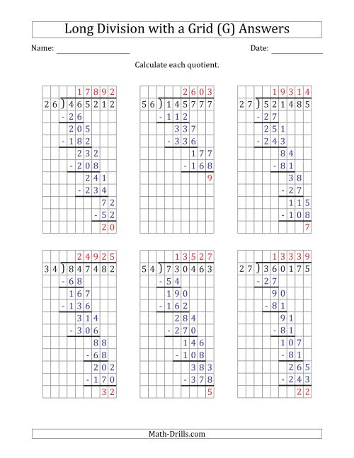 The 6-Digit by 2-Digit Long Division with Remainders with Grid Assistance and Prompts (G) Math Worksheet Page 2