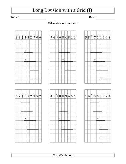 The 6-Digit by 2-Digit Long Division with Remainders with Grid Assistance and Prompts (I) Math Worksheet