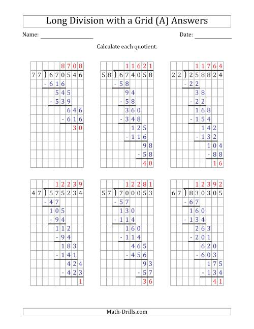 The 6-Digit by 2-Digit Long Division with Remainders with Grid Assistance (A) Math Worksheet Page 2