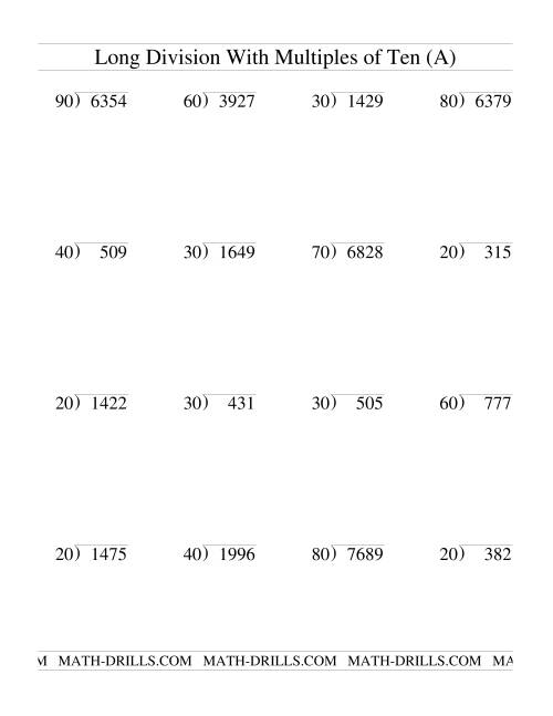 The Long Division with Multiples of 10 -- Two-Digit Quotient (A) Division Worksheet