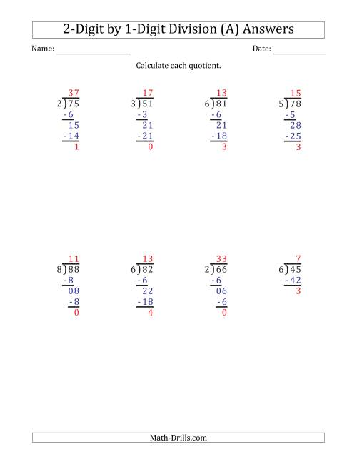 The 2-Digit by 1-Digit Long Division with Remainders and Steps Shown on Answer Key (A) Math Worksheet Page 2