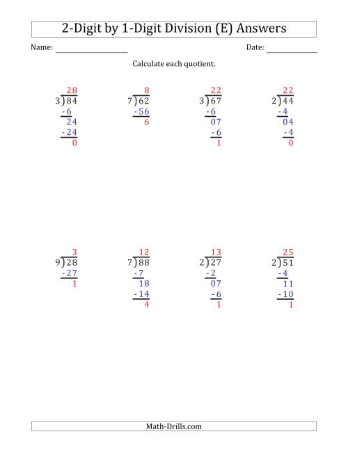 The 2-Digit by 1-Digit Long Division with Remainders and Steps Shown on Answer Key (E) Math Worksheet Page 2