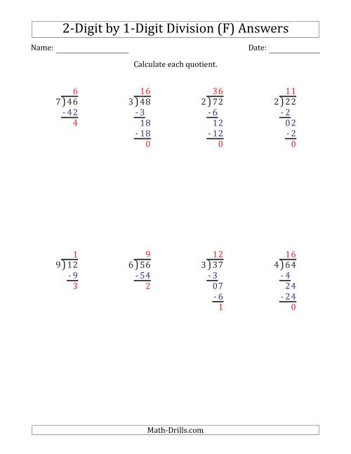 The 2-Digit by 1-Digit Long Division with Remainders and Steps Shown on Answer Key (F) Math Worksheet Page 2