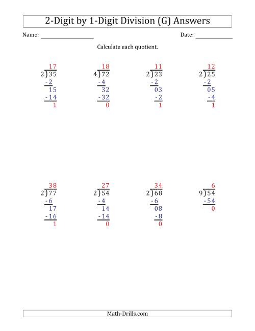 The 2-Digit by 1-Digit Long Division with Remainders and Steps Shown on Answer Key (G) Math Worksheet Page 2