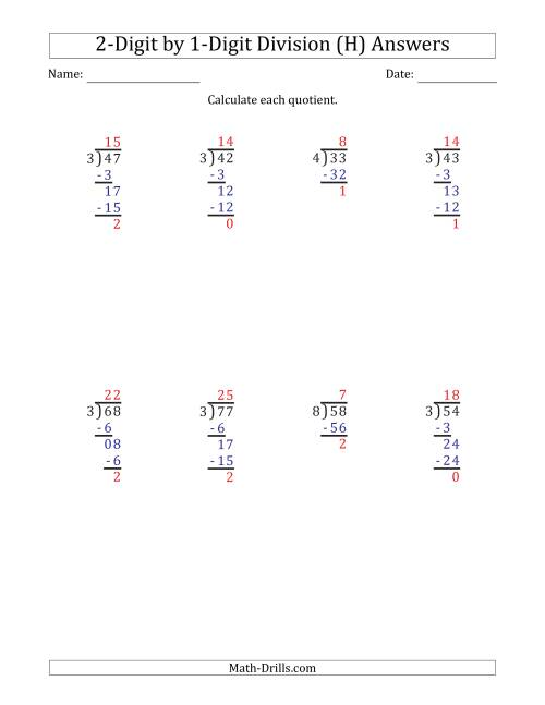 The 2-Digit by 1-Digit Long Division with Remainders and Steps Shown on Answer Key (H) Math Worksheet Page 2