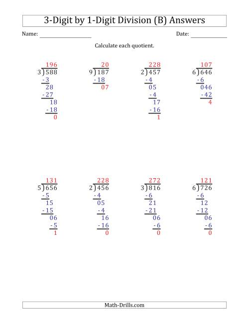 The 3-Digit by 1-Digit Long Division with Remainders and Steps Shown on Answer Key (B) Math Worksheet Page 2