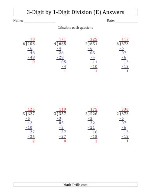 The 3-Digit by 1-Digit Long Division with Remainders and Steps Shown on Answer Key (E) Math Worksheet Page 2
