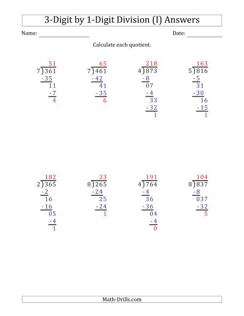 The 3-Digit by 1-Digit Long Division with Remainders and Steps Shown on Answer Key (I) Math Worksheet Page 2