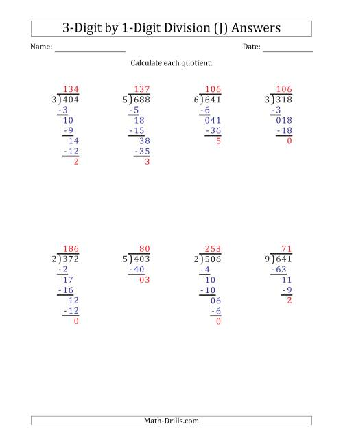 The 3-Digit by 1-Digit Long Division with Remainders and Steps Shown on Answer Key (J) Math Worksheet Page 2