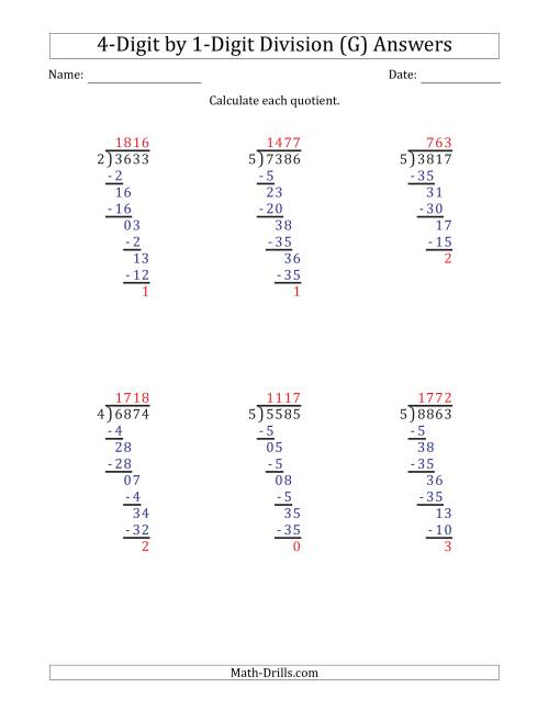 The 4-Digit by 1-Digit Long Division with Remainders and Steps Shown on Answer Key (G) Math Worksheet Page 2