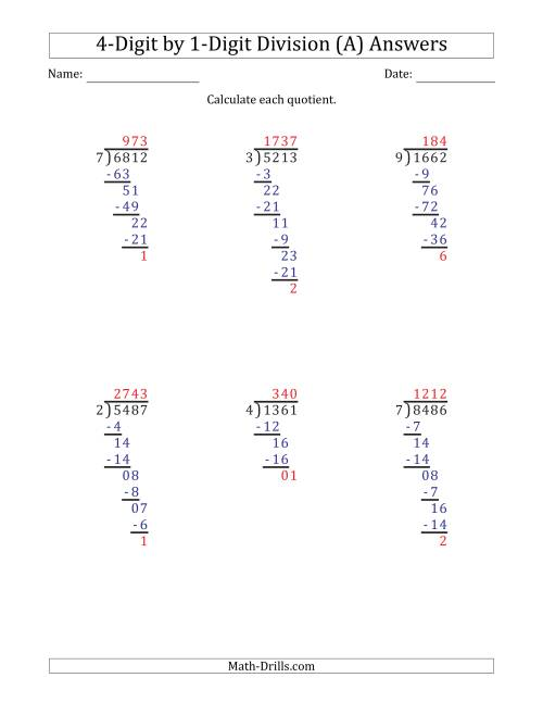 The 4-Digit by 1-Digit Long Division with Remainders and Steps Shown on Answer Key (All) Math Worksheet Page 2