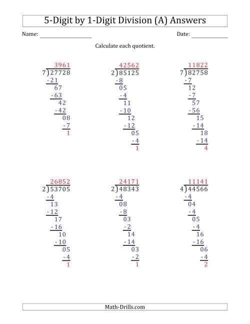 The 5-Digit by 1-Digit Long Division with Remainders and Steps Shown on Answer Key (A) Math Worksheet Page 2