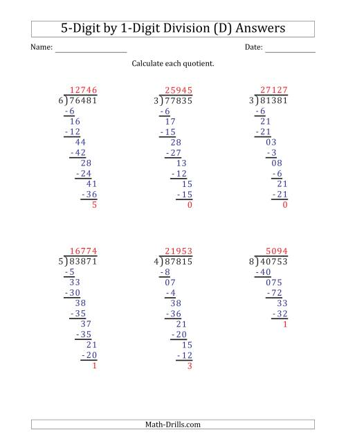 The 5-Digit by 1-Digit Long Division with Remainders and Steps Shown on Answer Key (D) Math Worksheet Page 2