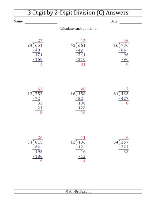 The 3-Digit by 2-Digit Long Division with Remainders and Steps Shown on Answer Key (C) Math Worksheet Page 2
