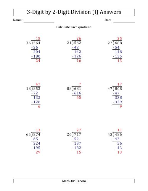 3-Digit by 2-Digit Long Division with Remainders and Steps