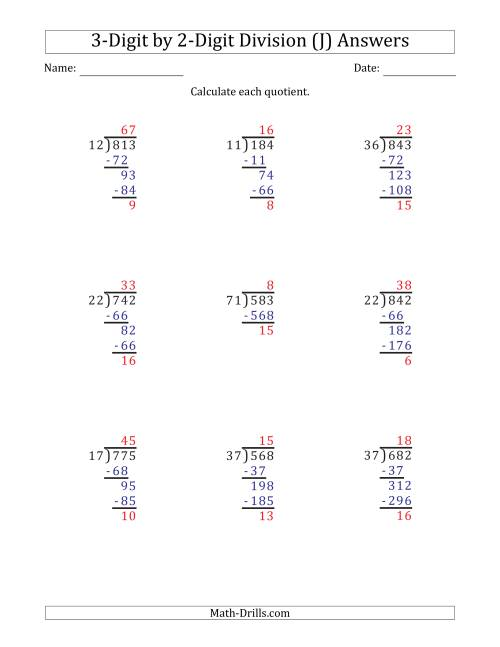 The 3-Digit by 2-Digit Long Division with Remainders and Steps Shown on Answer Key (J) Math Worksheet Page 2