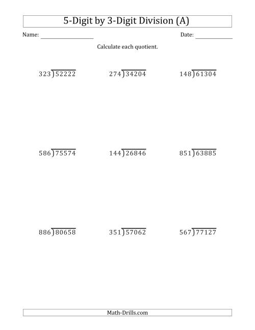 5Digit by 3Digit Long Division with Remainders and Steps Shown – Long Division Worksheets with Answer Key