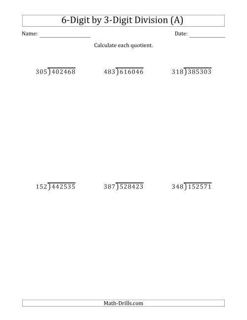 The 6-Digit by 3-Digit Long Division with Remainders and Steps Shown on Answer Key (A)