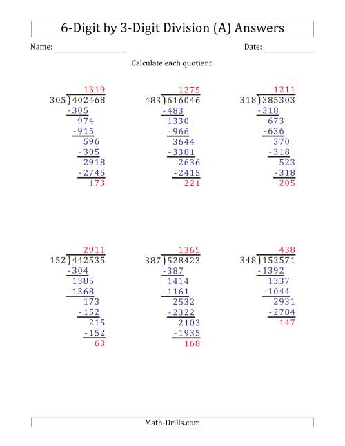The 6-Digit by 3-Digit Long Division with Remainders and Steps Shown on Answer Key (A) Math Worksheet Page 2