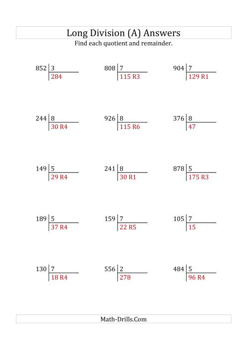 The European Long Division with a 1-Digit Divisor and a 3-Digit Dividend with Remainders (A) Math Worksheet Page 2
