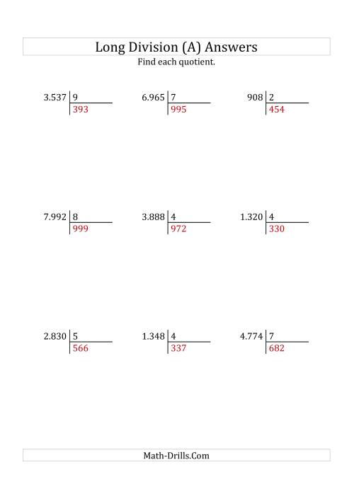 The European Long Division with a 1-Digit Divisor and a 3-Digit Quotient with No Remainders (A) Math Worksheet Page 2