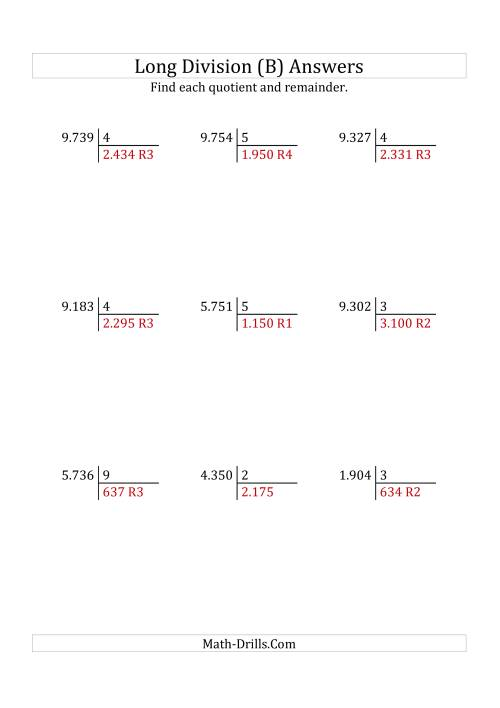 The European Long Division with a 1-Digit Divisor and a 4-Digit Dividend with Remainders (B) Math Worksheet Page 2