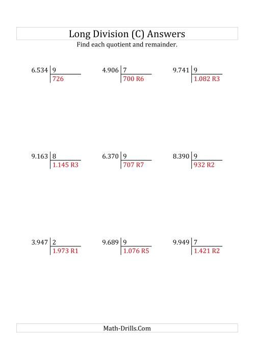 The European Long Division with a 1-Digit Divisor and a 4-Digit Dividend with Remainders (C) Math Worksheet Page 2