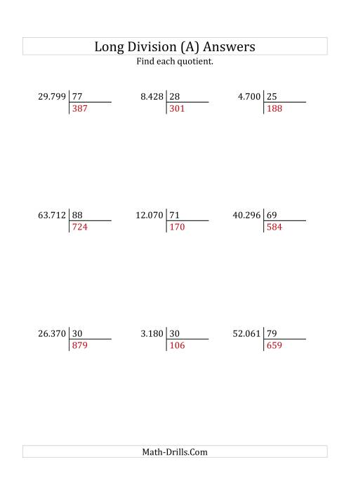 The European Long Division with a 2-Digit Divisor and a 3-Digit Quotient with No Remainders (A) Math Worksheet Page 2