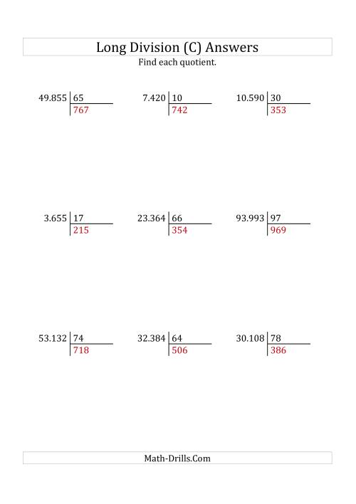 The European Long Division with a 2-Digit Divisor and a 3-Digit Quotient with No Remainders (C) Math Worksheet Page 2