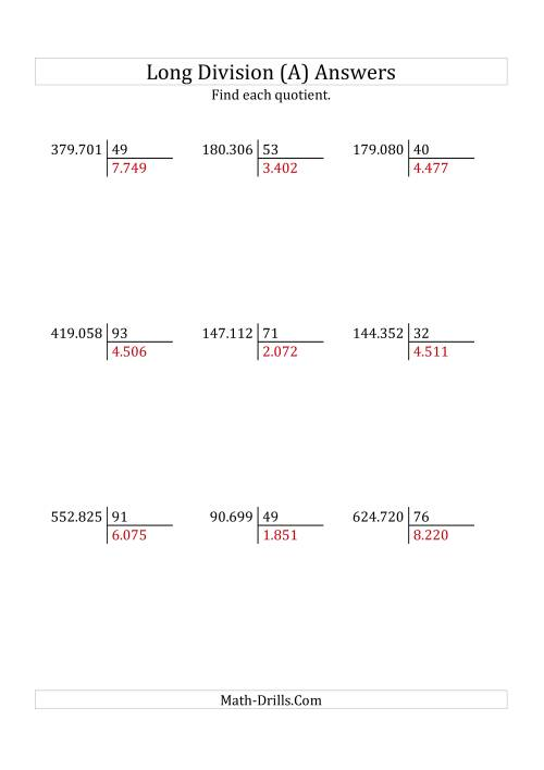The European Long Division with a 2-Digit Divisor and a 4-Digit Quotient with No Remainders (A) Math Worksheet Page 2