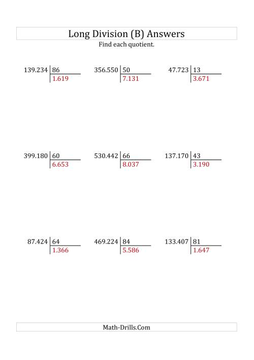 The European Long Division with a 2-Digit Divisor and a 4-Digit Quotient with No Remainders (B) Math Worksheet Page 2