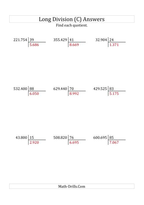 The European Long Division with a 2-Digit Divisor and a 4-Digit Quotient with No Remainders (C) Math Worksheet Page 2