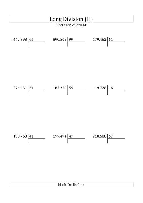 The European Long Division with a 2-Digit Divisor and a 4-Digit Quotient with No Remainders (H) Math Worksheet